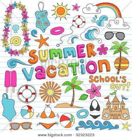 Summer Vacation Hawaiian Psychedelic Groovy Notebook Doodle Design Elements Set on Lined Sketchbook Paper Background - Vector Illustration