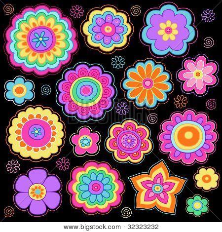Flowerpower heiter psychedelische handgezeichnete Notebook Doodle Design-Elemente festgelegt auf dornigen Sketchbook P