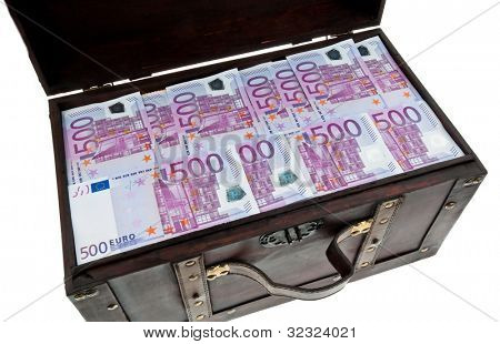 a large chest with euro banknotes. financial crisis, crisis, debt.