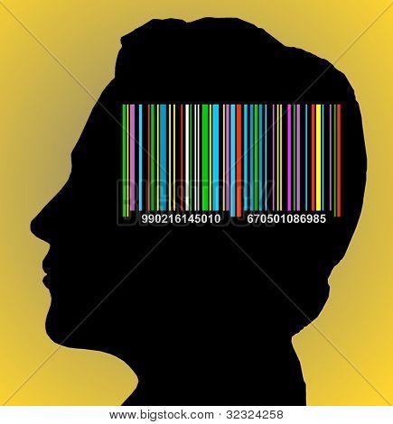 Código de barras colorido na cabeça
