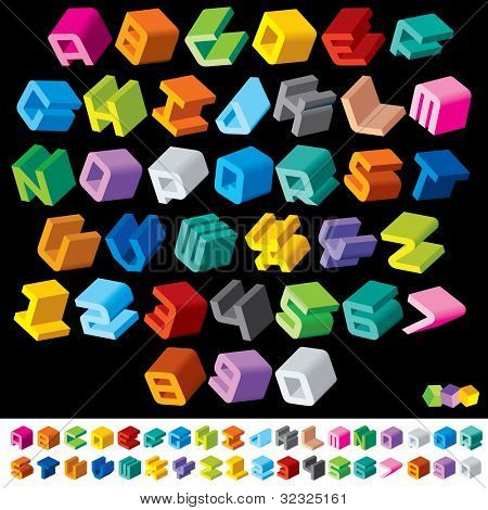 Color Isometric Letters and Numbers. Vector Design Font