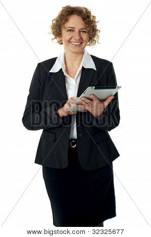 Curly Haired Corporate Woman Posing With Ipad
