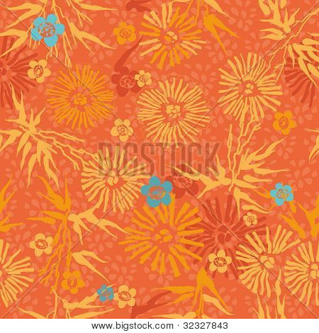 Saemless Floral Pattern Orange And Blue Flowers