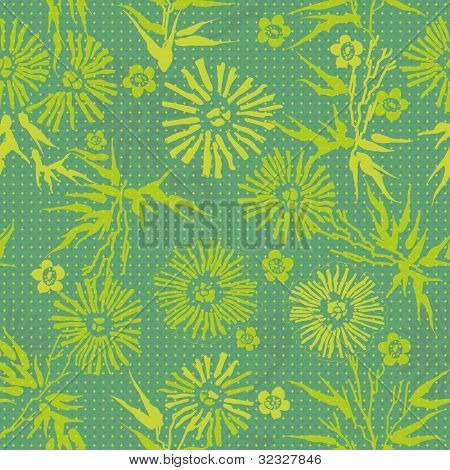 Green Floral  Japanese Pattern