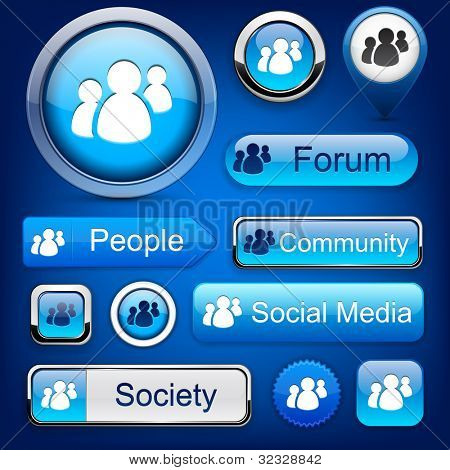 People web blue buttons for website or app. Vector eps10.