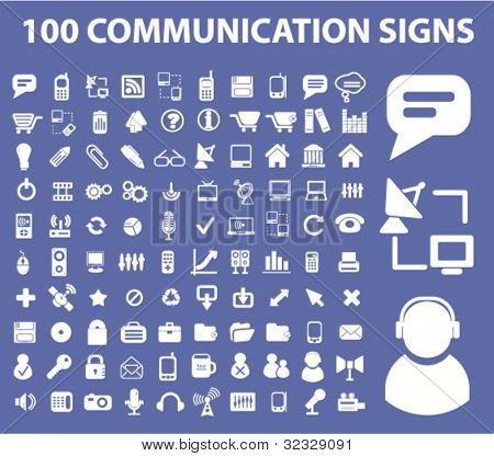 100 communication signs set, vector