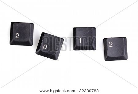 Keyboard keys saying 2012 isolated on white