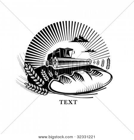 Bread with wheat and combine harvester in a field, engraving style