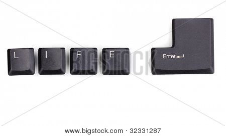 Keyboard keys saying life enter isolated on white