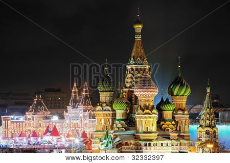 Night view of Kremlin and St. Basil's Cathedral in Moscow