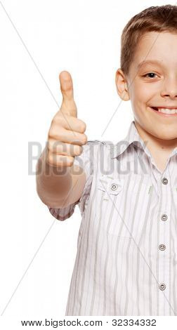 Happy boy showing thumb up. Happiness child showing sign ok