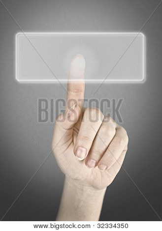 The female hand click on button