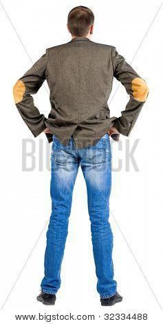 Rückansicht des Geschäftsmann in Anzugjacke. Suchen über sich selbst. isolated over white backgroun