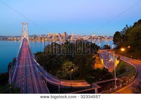 Bay Bridge and San Francisco downtown