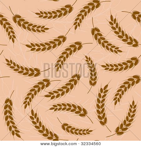 Spikes of wheat. Seamless pattern.