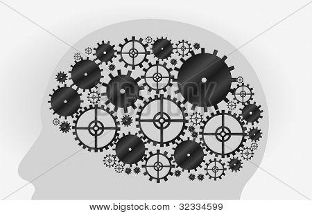 Head shape with machine gear wheel. Cogwheel.