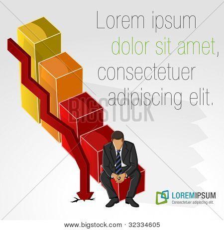 Modelo de folheto de publicidade com o homem de negócios em gráfico de barras da crise financeira