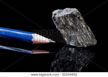 Rough piece of carbon rock mineral in the form of graphite, an allotrope of carbon, known for its use in pencils