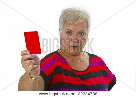 Female Senior Shows Red Card