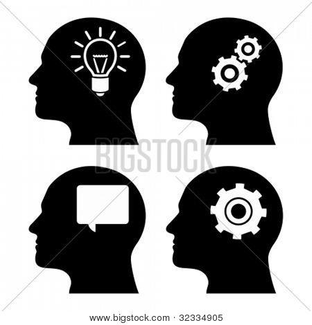 Cabeza humana con engranajes y bombilla. Concepto del pensamiento humano.