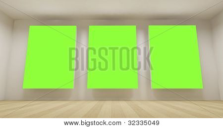 Clean school room with three green chroma key backdrop, 3d art concept, clean space