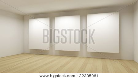 Medical room, 3d art with empty space, three white frames