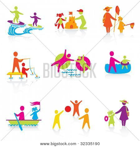 Set of Icons - Summer Time - Silhouette family. woman, man, kid, child, boy, girl, father, mother. People vector.