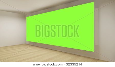 Clean room with green chroma key backdrop, 3d art concept, empty space