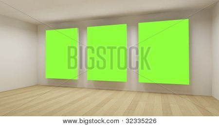 Medical room, 3d art with empty space, green chroma key