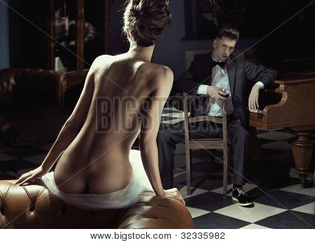 Naked woman and young man
