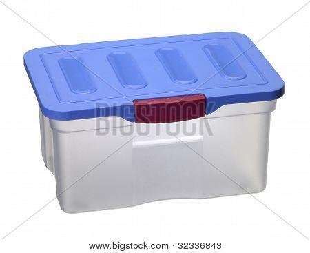 Caja de plástico transparente con tapa azul