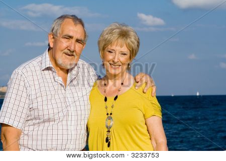 Happy Elderly Seniors On Summer  Holiday
