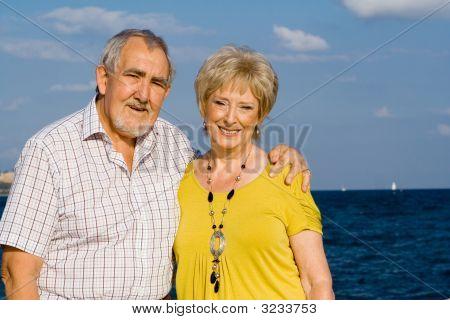 Happy Elderly Seniors On Summer  Holiday