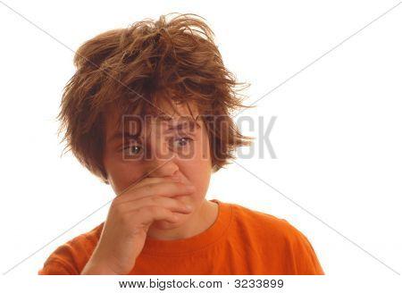 Age 13 Rubbing Nose