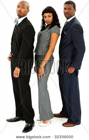 Young Black Business Team In Suits Isolated On White Background