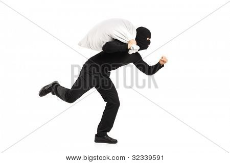 Thief carrying a bag and running away isolated on white background