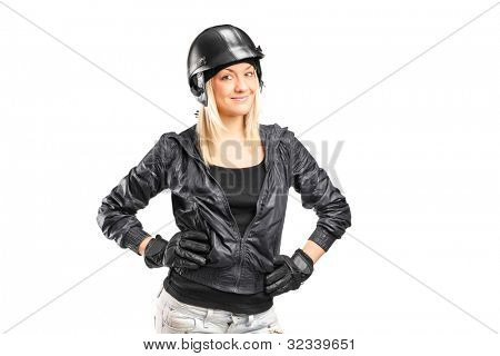A portrait of a female motorcycler with helmet isolated on white background