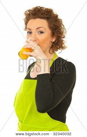 Woman Drinking Orange Fresh