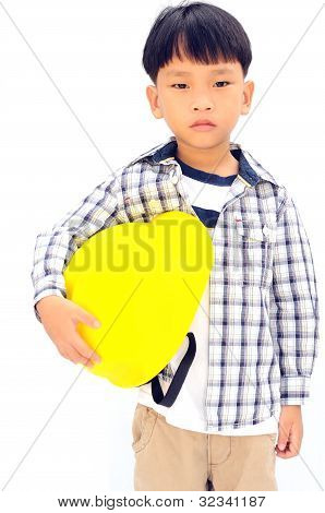 Asianboy In Yellow Helmet Holding