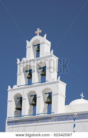 Bell Tower In Santorini, Greece.