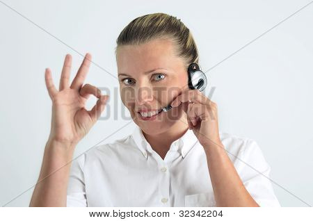 Blondy Beautiful Girl Speaking Over The Headset