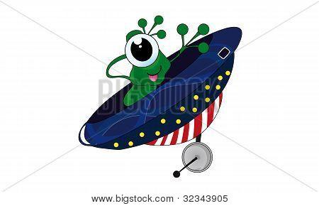 Green alien in flying ufo. Cartoon, vector, illustration