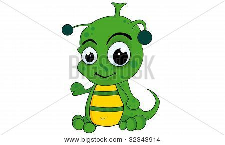Cartoon alien, outer space cartoon set