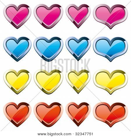 Set of colored heart shape icons