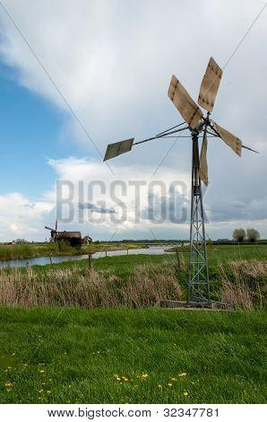 Turning Old Metal Windmill