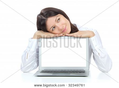 Business Woman With New Modern Popular Laptop