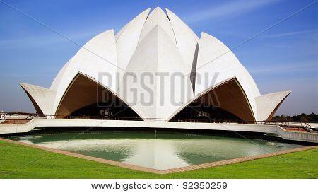 Picturesque landscape with Lotus Temple. New Delhi