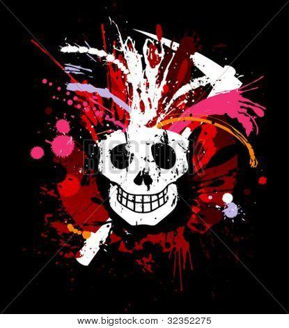 Skull grunge design for t-shirt.
