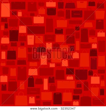 Red sale background with shopping bags pattern.