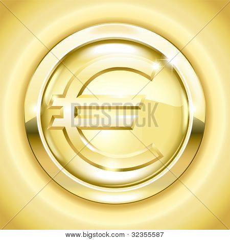 vector Golden button with a euro  sign. File is saved in AI10 EPS version. This illustration contains a transparency